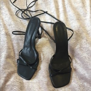 Shoes - Black leather strap heels